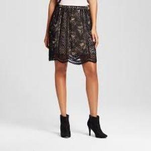 NWT xhilaration black lace skirt scalloped hem XXL